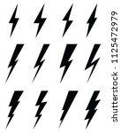 black icons of thunder lighting ... | Shutterstock .eps vector #1125472979