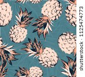 pineapples on the background of ... | Shutterstock .eps vector #1125474773