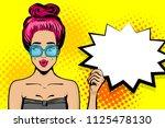 surprise caucasian pink hair... | Shutterstock .eps vector #1125478130