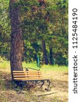 wooden bench of resting place.... | Shutterstock . vector #1125484190