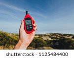 portable thermometer in hand... | Shutterstock . vector #1125484400