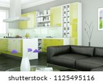 modern bright interior design... | Shutterstock . vector #1125495116
