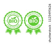 bio certified batch labels set. ... | Shutterstock .eps vector #1125495626