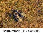 old summer children shoes... | Shutterstock . vector #1125508883