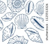 hand drawn nautical seamless...   Shutterstock .eps vector #1125513326