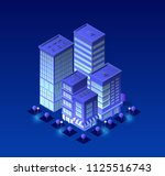 isometric city of violet colors ... | Shutterstock .eps vector #1125516743