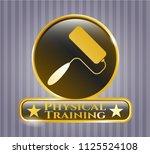 golden emblem with roller... | Shutterstock .eps vector #1125524108