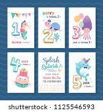 birthday card template with... | Shutterstock .eps vector #1125546593