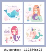 set of mermaid and marine life... | Shutterstock .eps vector #1125546623