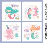 set of mermaid and marine life... | Shutterstock .eps vector #1125546626