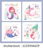set of mermaid and marine life... | Shutterstock .eps vector #1125546629