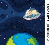 children in ufo in space... | Shutterstock .eps vector #1125560366