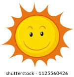 a happy sun on white background ... | Shutterstock .eps vector #1125560426