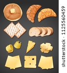 a set of bread and cheese... | Shutterstock .eps vector #1125560459