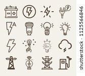 set of 16 electricity outline... | Shutterstock .eps vector #1125566846
