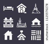 set of 9 buildings filled icons ... | Shutterstock .eps vector #1125570278