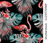 flamingo pattern. tropical... | Shutterstock . vector #1125570989