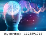silhouette of virtual human on...   Shutterstock . vector #1125591716