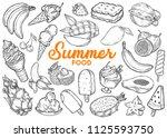 summer food vector set. sweet... | Shutterstock .eps vector #1125593750
