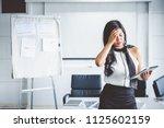 young asian business woman...   Shutterstock . vector #1125602159