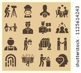 set of 16 people filled icons... | Shutterstock .eps vector #1125614243