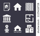 set of 9 buildings filled icons ... | Shutterstock .eps vector #1125618728