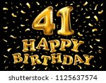 raster copy happy birthday 41th ... | Shutterstock . vector #1125637574