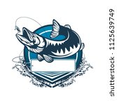 pike fishing emblem. pike fish...   Shutterstock .eps vector #1125639749