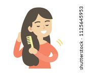 young woman combing hair  cute...   Shutterstock .eps vector #1125645953