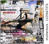 budapest  hungary. vintage... | Shutterstock . vector #1125667376