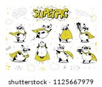 collection of pig super hero...   Shutterstock . vector #1125667979