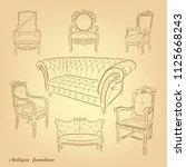 antique furniture .retro... | Shutterstock .eps vector #1125668243