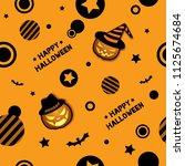 happy halloween frame design...   Shutterstock .eps vector #1125674684