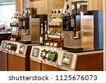 self service area  coffee... | Shutterstock . vector #1125676073