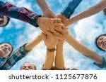 group of officer teamwork is... | Shutterstock . vector #1125677876