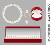 pearl jewelery set. vector... | Shutterstock .eps vector #1125678800