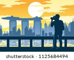 man taking a photo of famous... | Shutterstock .eps vector #1125684494