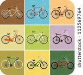 vintage retro bicycle background | Shutterstock .eps vector #112569764