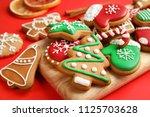 tasty homemade christmas... | Shutterstock . vector #1125703628