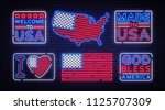 usa flag badges collection neon ...   Shutterstock .eps vector #1125707309