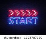 start neon sign vector design... | Shutterstock .eps vector #1125707330