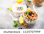 healthy breakfast   muesli ... | Shutterstock . vector #1125707999