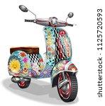 hippie vintage scooter. | Shutterstock .eps vector #1125720593