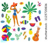 beach icons set  funny bright... | Shutterstock .eps vector #1125720836