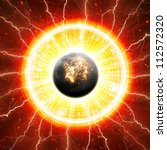 Abstract scientific background - exploding of planet in space. Elements of this image furnished by NASA. - stock photo