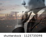 double exposure of thoughtful... | Shutterstock . vector #1125735098