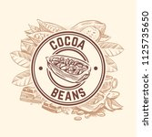 cocoa bean tree. chocolate... | Shutterstock .eps vector #1125735650
