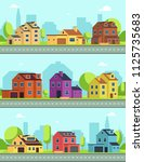 city street with buildings ... | Shutterstock .eps vector #1125735683