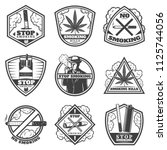 vintage stop smoke labels set... | Shutterstock .eps vector #1125744056