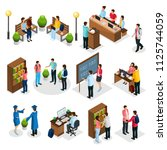 isometric students in... | Shutterstock .eps vector #1125744059